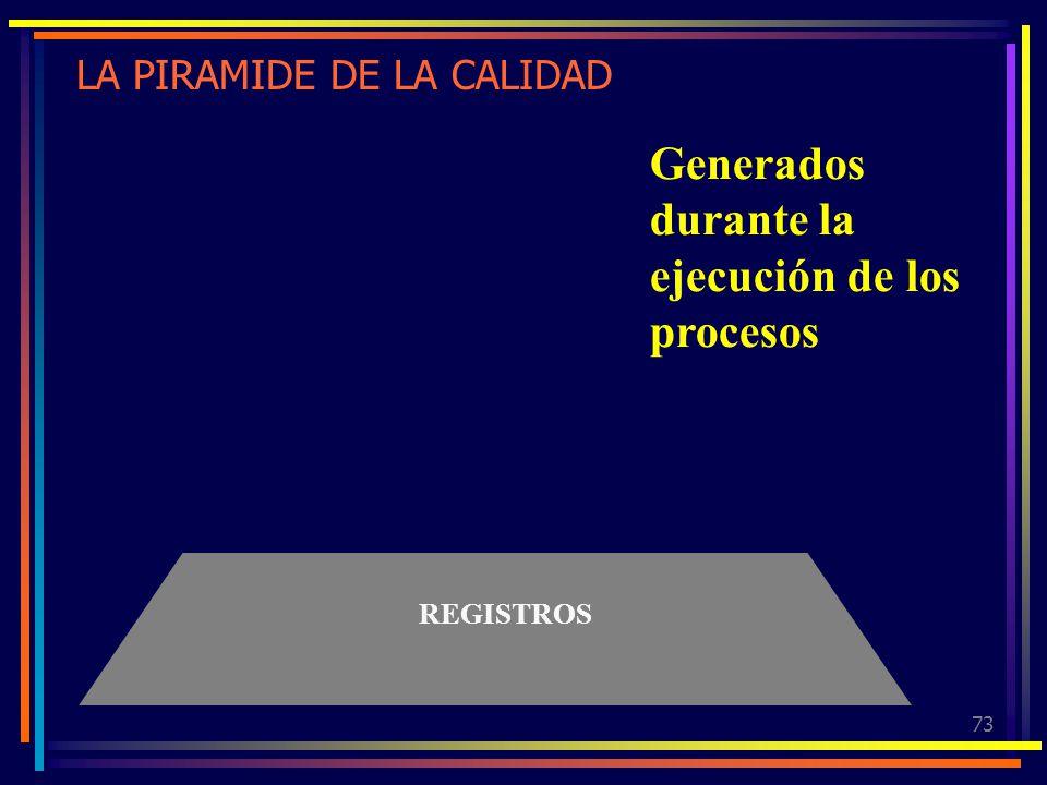 73 LA PIRAMIDE DE LA CALIDAD REGISTROS Generados durante la ejecución de los procesos