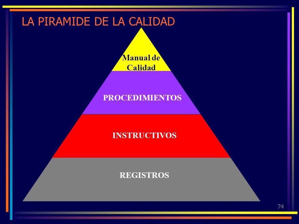 74 LA PIRAMIDE DE LA CALIDAD Manual de Calidad PROCEDIMIENTOS INSTRUCTIVOS REGISTROS