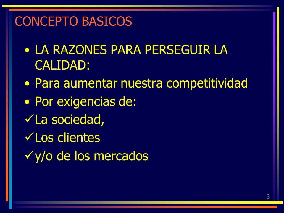 8 CONCEPTO BASICOS LA RAZONES PARA PERSEGUIR LA CALIDAD: Para aumentar nuestra competitividad Por exigencias de: La sociedad, Los clientes y/o de los