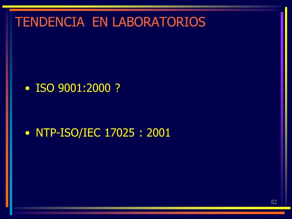 82 TENDENCIA EN LABORATORIOS ISO 9001:2000 ? NTP-ISO/IEC 17025 : 2001