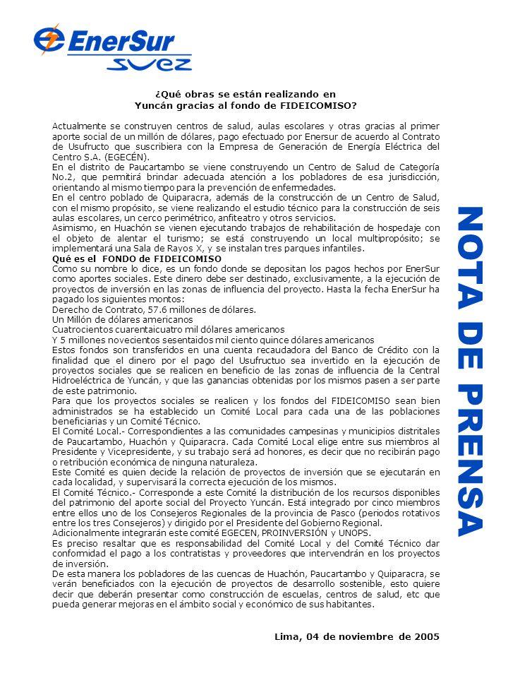NOTA DE PRENSA ¿Qué obras se están realizando en Yuncán gracias al fondo de FIDEICOMISO.