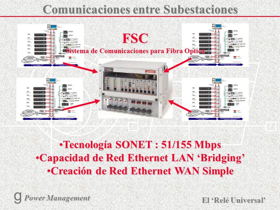 X R Ø X R El Relé Universal Power Management g Power Management 25 La Subestación con UCA 10Mbps Ethernet Dual Hubs de Fibra IEDsInteroperable Uso de