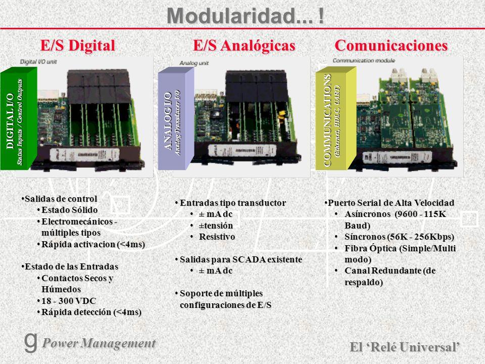 X R Ø X R El Relé Universal Power Management g Power Management 7 Modularidad... Modularidad... Power Supply Fuente de Alimentación RangosRangos 24 -