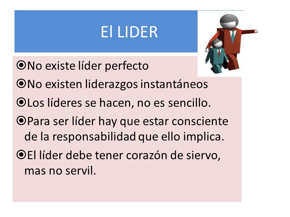 El LIDER No existe líder perfecto No existen liderazgos instantáneos Los líderes se hacen, no es sencillo. Para ser líder hay que estar consciente de