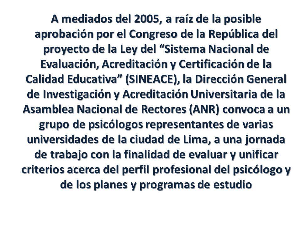 A mediados del 2005, a raíz de la posible aprobación por el Congreso de la República del proyecto de la Ley del Sistema Nacional de Evaluación, Acredi