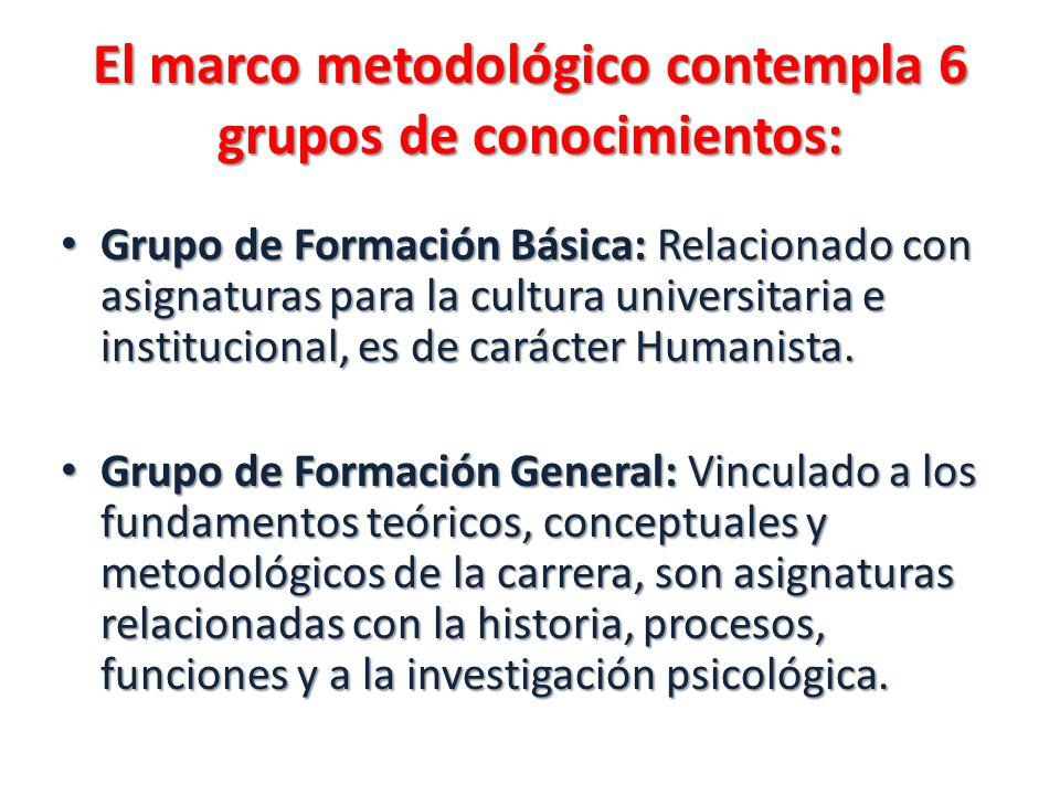 El marco metodológico contempla 6 grupos de conocimientos: Grupo de Formación Básica: Relacionado con asignaturas para la cultura universitaria e inst