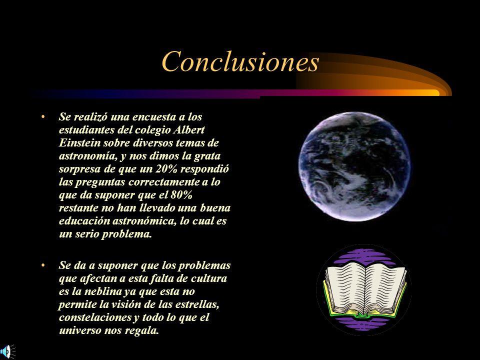 Conclusiones Se realizó una encuesta a los estudiantes del colegio Albert Einstein sobre diversos temas de astronomía, y nos dimos la grata sorpresa d