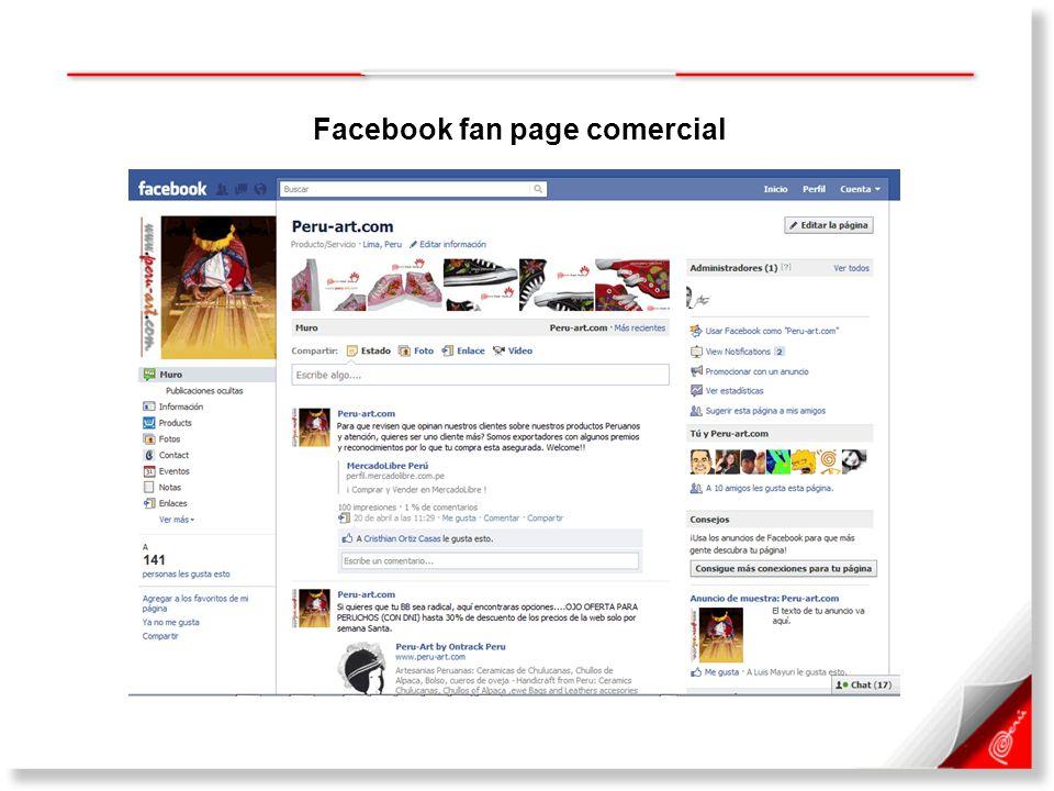 Facebook fan page comercial