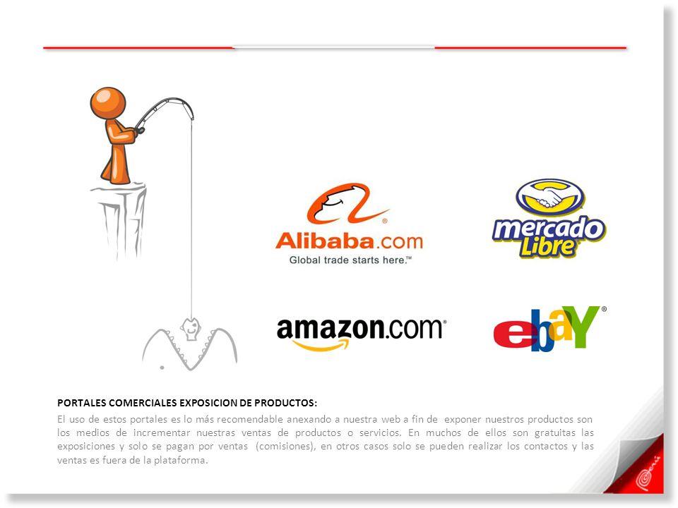 PORTALES COMERCIALES EXPOSICION DE PRODUCTOS: El uso de estos portales es lo más recomendable anexando a nuestra web a fin de exponer nuestros product