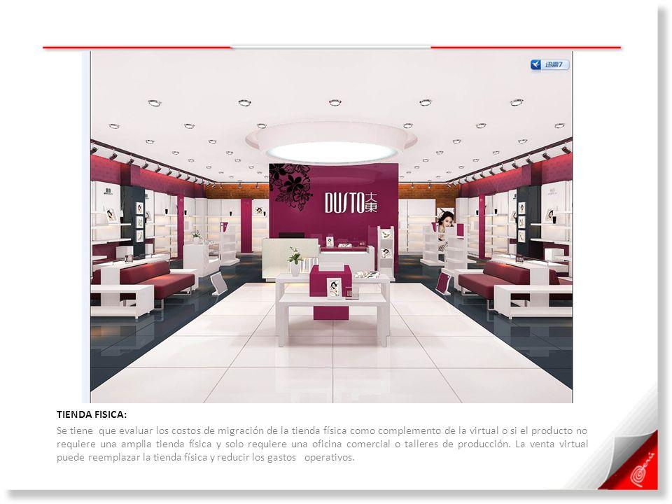 TIENDA FISICA: Se tiene que evaluar los costos de migración de la tienda física como complemento de la virtual o si el producto no requiere una amplia