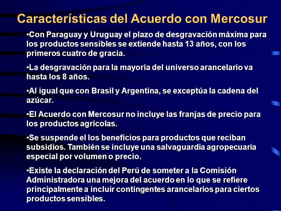 Características del Acuerdo con Mercosur Con Paraguay y Uruguay el plazo de desgravación máxima para los productos sensibles se extiende hasta 13 años, con los primeros cuatro de gracia.Con Paraguay y Uruguay el plazo de desgravación máxima para los productos sensibles se extiende hasta 13 años, con los primeros cuatro de gracia.
