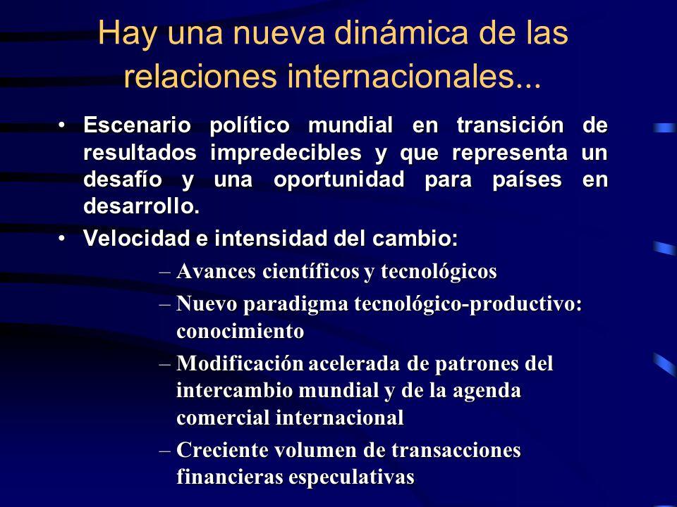 Hay una nueva dinámica de las relaciones internacionales...