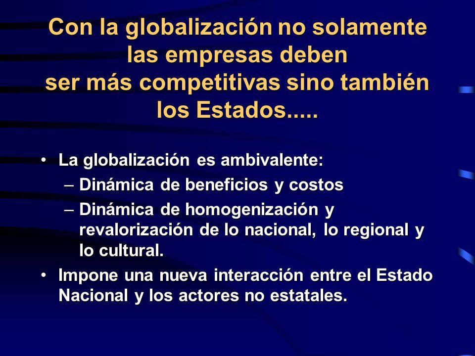 Con la globalización no solamente las empresas deben ser más competitivas sino también los Estados.....