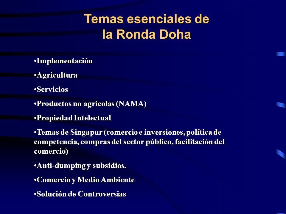Temas esenciales de la Ronda Doha ImplementaciónImplementación AgriculturaAgricultura ServiciosServicios Productos no agrícolas (NAMA)Productos no agrícolas (NAMA) Propiedad IntelectualPropiedad Intelectual Temas de Singapur (comercio e inversiones, política de competencia, compras del sector público, facilitación del comercio)Temas de Singapur (comercio e inversiones, política de competencia, compras del sector público, facilitación del comercio) Anti-dumping y subsidios.Anti-dumping y subsidios.