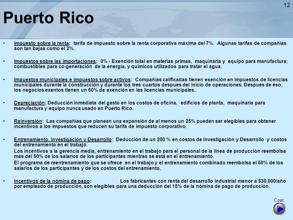 12 Puerto Rico Impuesto sobre la renta: tarifa de impuesto sobre la renta corporativa máxima del 7%. Algunas tarifas de compañías son tan bajas como e