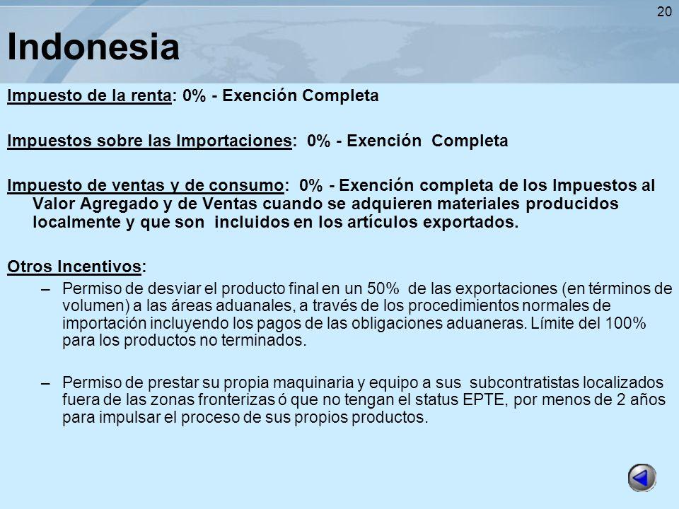 20 Indonesia Impuesto de la renta: 0% - Exención Completa Impuestos sobre las Importaciones: 0% - Exención Completa Impuesto de ventas y de consumo: 0