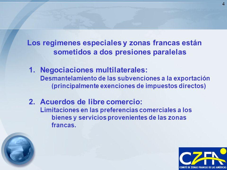 4 Los regimenes especiales y zonas francas están sometidos a dos presiones paralelas 1.Negociaciones multilaterales: Desmantelamiento de las subvencio