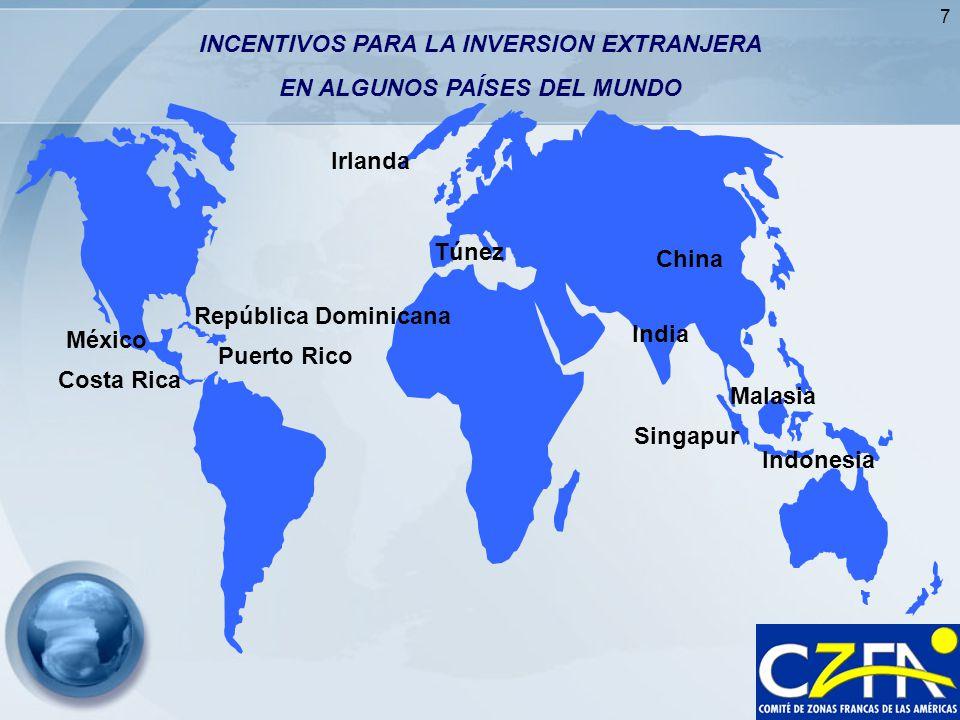 7 Costa Rica Puerto Rico México India Malasia Indonesia Singapur INCENTIVOS PARA LA INVERSION EXTRANJERA EN ALGUNOS PAÍSES DEL MUNDO República Dominic