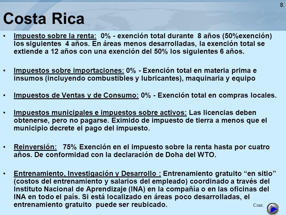 8 Costa Rica Impuesto sobre la renta: 0% - exención total durante 8 años (50%exención) los siguientes 4 años. En áreas menos desarrolladas, la exenció