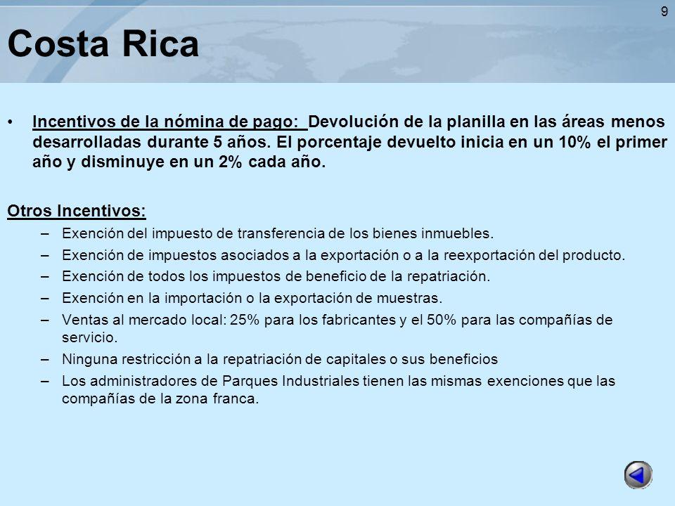 9 Costa Rica Incentivos de la nómina de pago: Devolución de la planilla en las áreas menos desarrolladas durante 5 años. El porcentaje devuelto inicia