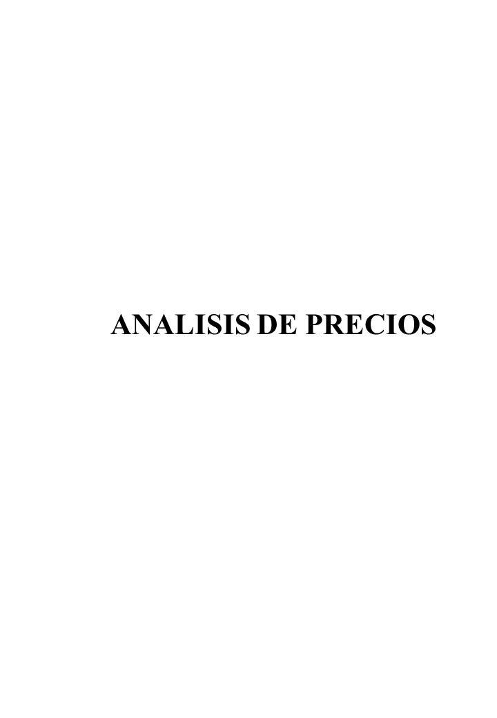 ANALISIS DE PRECIOS
