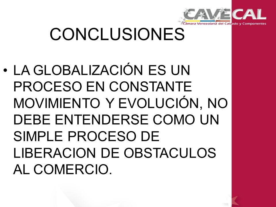 LA GLOBALIZACIÓN ES UN PROCESO EN CONSTANTE MOVIMIENTO Y EVOLUCIÓN, NO DEBE ENTENDERSE COMO UN SIMPLE PROCESO DE LIBERACION DE OBSTACULOS AL COMERCIO.