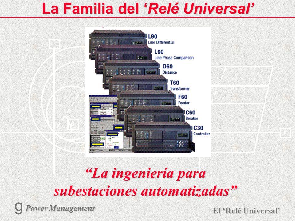 X R Ø X R El Relé Universal Power Management g Power Management 1 La Familia del Relé Universal La ingeniería para subestaciones automatizadas