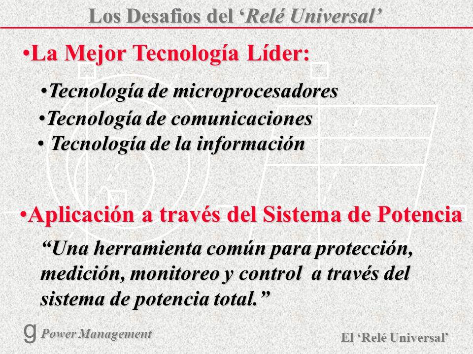 X R Ø X R El Relé Universal Power Management g Power Management 3 La Mejor Tecnología Líder:La Mejor Tecnología Líder: Tecnología de microprocesadoresTecnología de microprocesadores Tecnología de comunicacionesTecnología de comunicaciones Tecnología de la información Tecnología de la información Aplicación a través del Sistema de PotenciaAplicación a través del Sistema de Potencia Una herramienta común para protección, medición, monitoreo y control a través del sistema de potencia total.