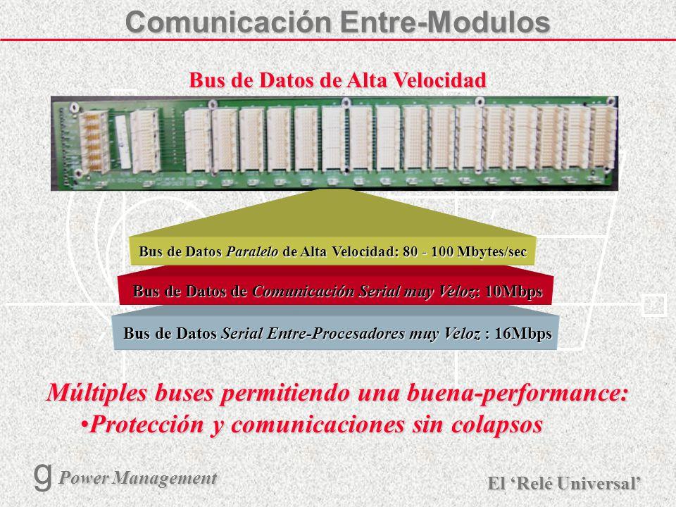 X R Ø X R El Relé Universal Power Management g Power Management 8 Salidas de controlSalidas de control Estado SólidoEstado Sólido Electromecánicos - múltiples tiposElectromecánicos - múltiples tipos Rápida activacion (<4ms)Rápida activacion (<4ms) Estado de las EntradasEstado de las Entradas Contactos Secos y HúmedosContactos Secos y Húmedos 18 - 300 VDC18 - 300 VDC Rápida detección (<4ms)Rápida detección (<4ms) DIGITAL I/O Status Inputs / Control Outputs E/S Digital Entradas tipo transductorEntradas tipo transductor ± mA dc± mA dc ±tensión±tensión ResistivoResistivo Salidas para SCADA existenteSalidas para SCADA existente ± mA dc± mA dc Soporte de múltiples configuraciones de E/SSoporte de múltiples configuraciones de E/S E/S Analógicas ANALOG I/O Analog Transducer I/O ComunicacionesCOMMUNICATIONS (Ethernet, HDLC, UART) Puerto Serial de Alta VelocidadPuerto Serial de Alta Velocidad Asíncronos (9600 - 115K Baud)Asíncronos (9600 - 115K Baud) Síncronos (56K - 256Kbps)Síncronos (56K - 256Kbps) Fibra Óptica (Simple/Multi modo)Fibra Óptica (Simple/Multi modo) Canal Redundante (de respaldo)Canal Redundante (de respaldo) Modularidad...