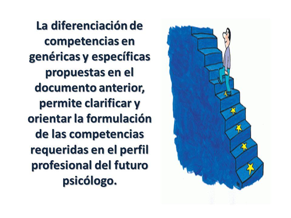 La diferenciación de competencias en genéricas y específicas propuestas en el documento anterior, permite clarificar y orientar la formulación de las competencias requeridas en el perfil profesional del futuro psicólogo.