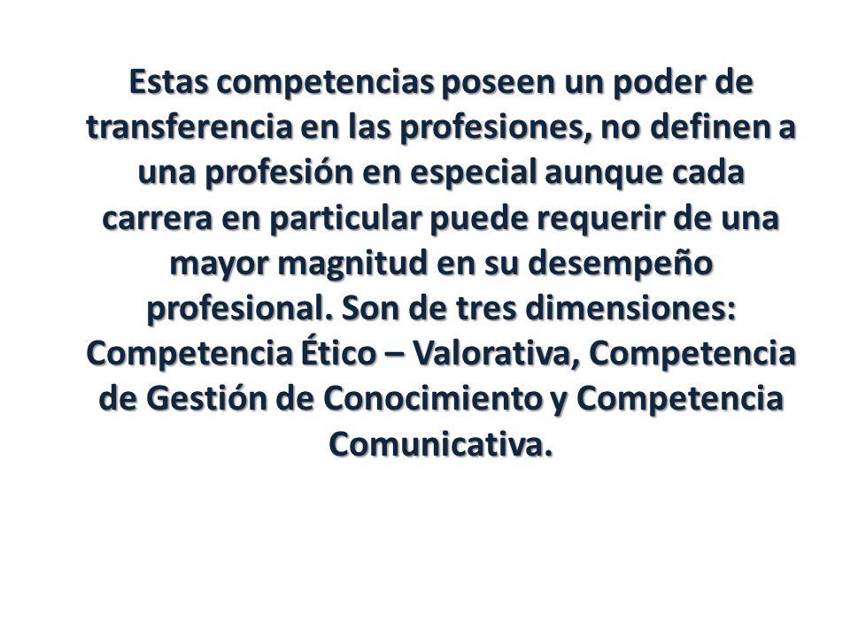 Estas competencias poseen un poder de transferencia en las profesiones, no definen a una profesión en especial aunque cada carrera en particular puede