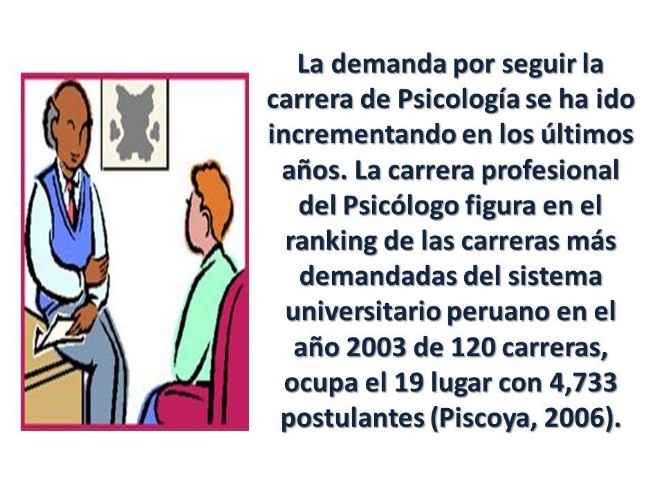 La demanda por seguir la carrera de Psicología se ha ido incrementando en los últimos años. La carrera profesional del Psicólogo figura en el ranking