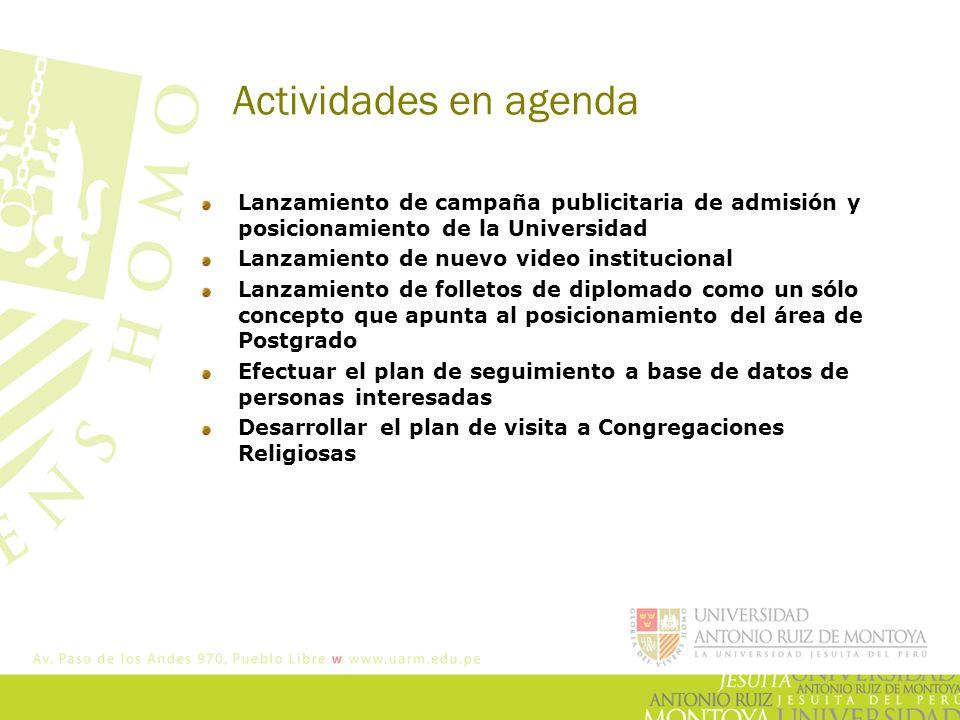 Actividades en agenda Lanzamiento de campaña publicitaria de admisión y posicionamiento de la Universidad Lanzamiento de nuevo video institucional Lan