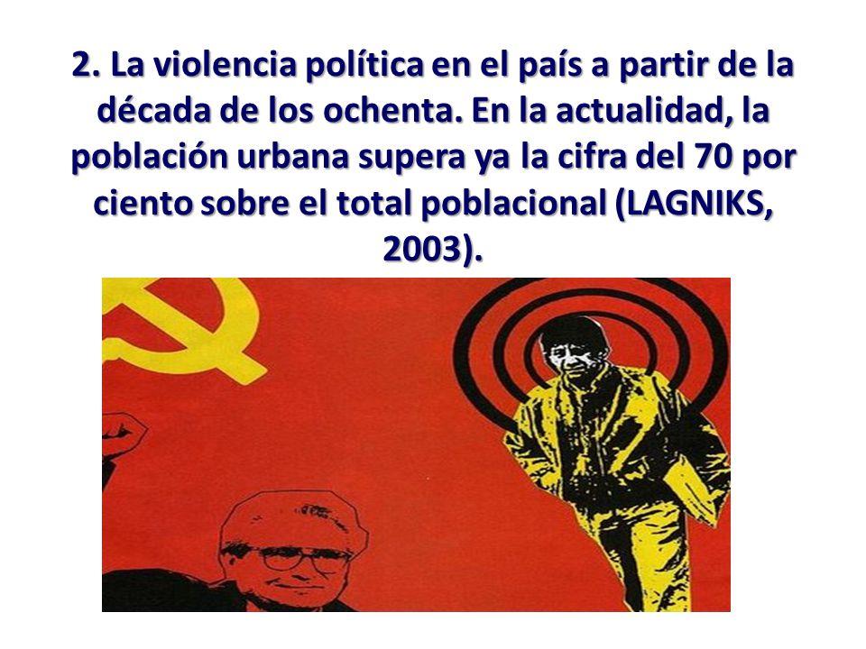 2. La violencia política en el país a partir de la década de los ochenta. En la actualidad, la población urbana supera ya la cifra del 70 por ciento s