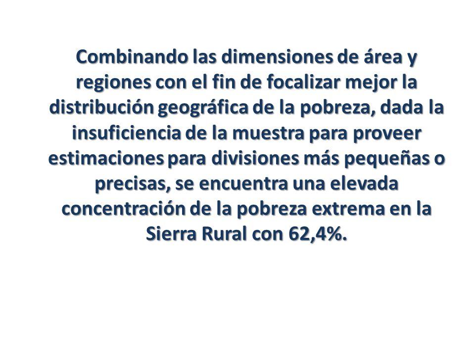 Combinando las dimensiones de área y regiones con el fin de focalizar mejor la distribución geográfica de la pobreza, dada la insuficiencia de la mues