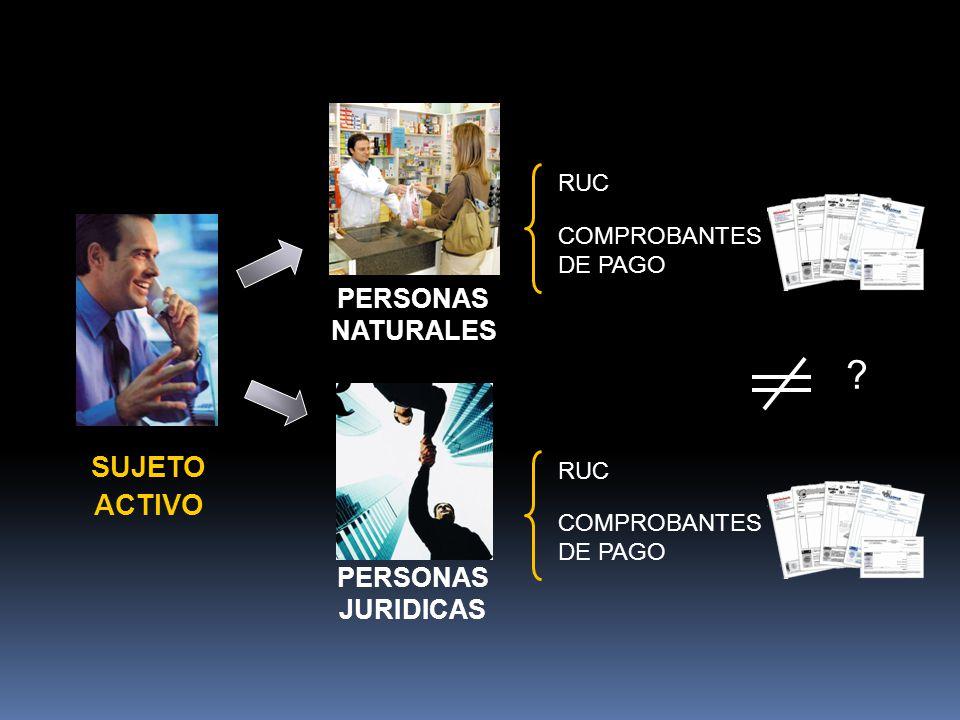 ? PERSONAS JURIDICAS PERSONAS NATURALES RUC COMPROBANTES DE PAGO RUC COMPROBANTES DE PAGO SUJETO ACTIVO