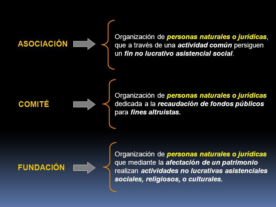 ASOCIACIÓN COMITÉ FUNDACIÓN Organización de personas naturales o jurídicas, que a través de una actividad común persiguen un fin no lucrativo asistencial social.