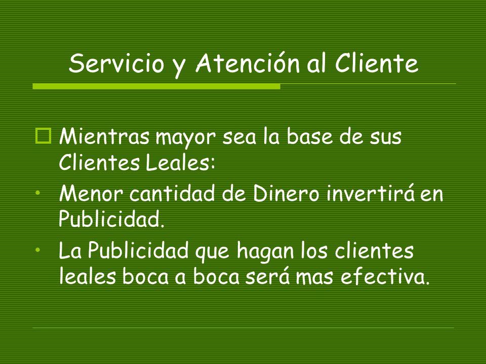 Servicio y Atención al Cliente Mientras mayor sea la base de sus Clientes Leales: Menor cantidad de Dinero invertirá en Publicidad.
