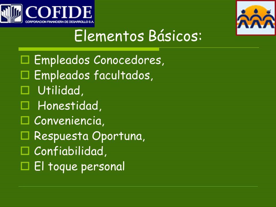 Elementos Básicos: Empleados Conocedores, Empleados facultados, Utilidad, Honestidad, Conveniencia, Respuesta Oportuna, Confiabilidad, El toque personal