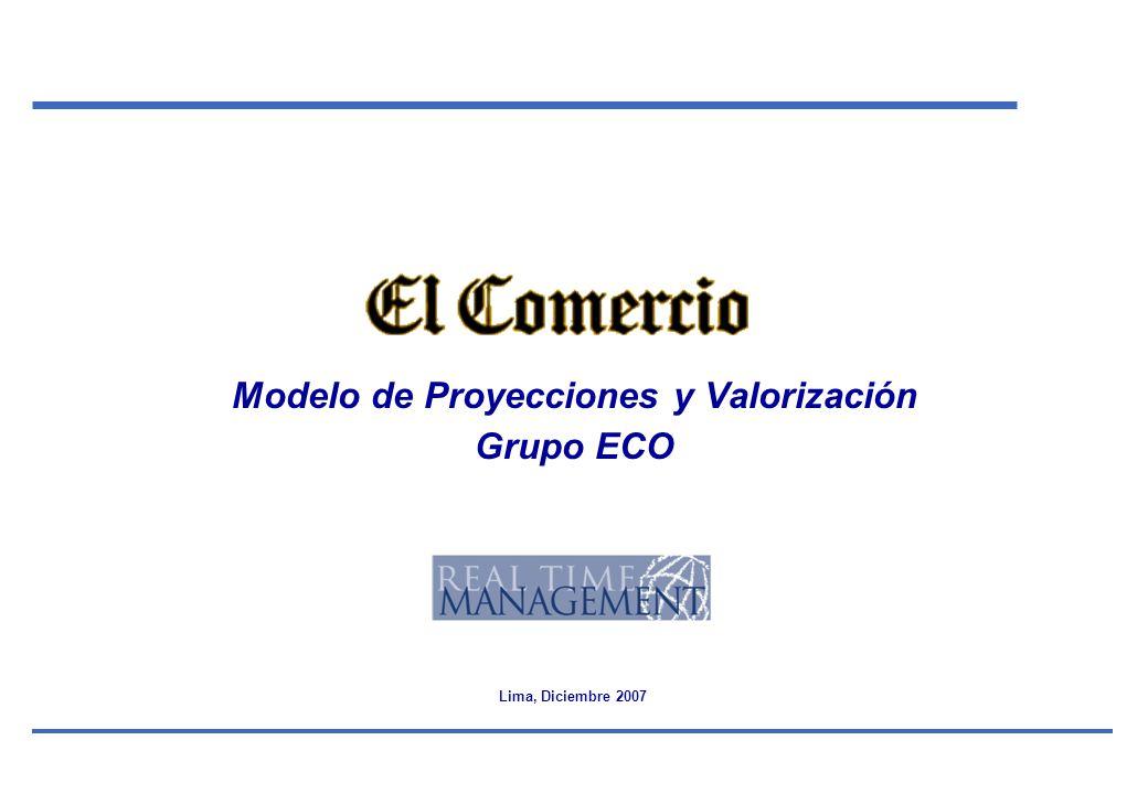 Modelo de Proyecciones y Valorización Grupo ECO Lima, Diciembre 2007