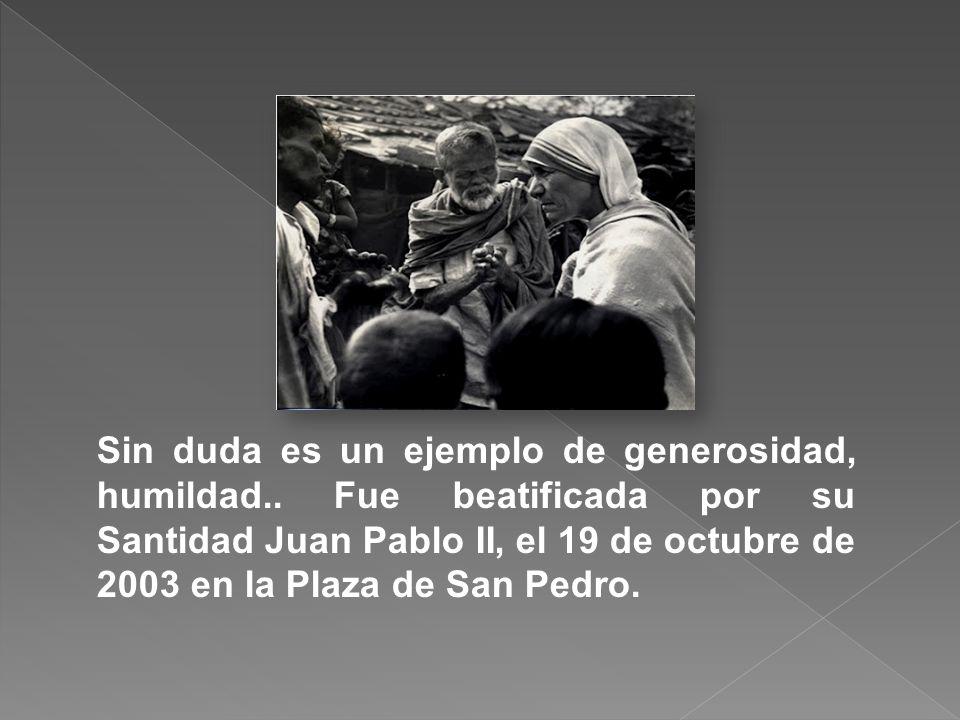 En el año 1950, la Madre Teresa empezó a ayudar a las personas enfermas de lepra. En el año 1965, el Papa Pablo VI colocó a la congregación de las Mis