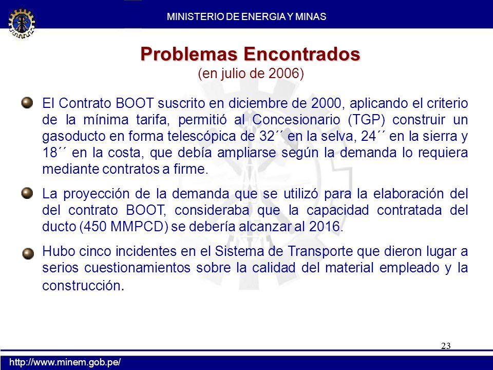 23 Problemas Encontrados (en julio de 2006) El Contrato BOOT suscrito en diciembre de 2000, aplicando el criterio de la mínima tarifa, permitió al Con