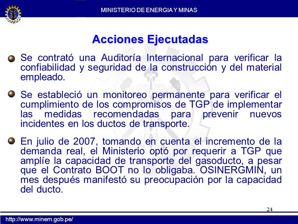 24 Acciones Ejecutadas Se contrató una Auditoría Internacional para verificar la confiabilidad y seguridad de la construcción y del material empleado.