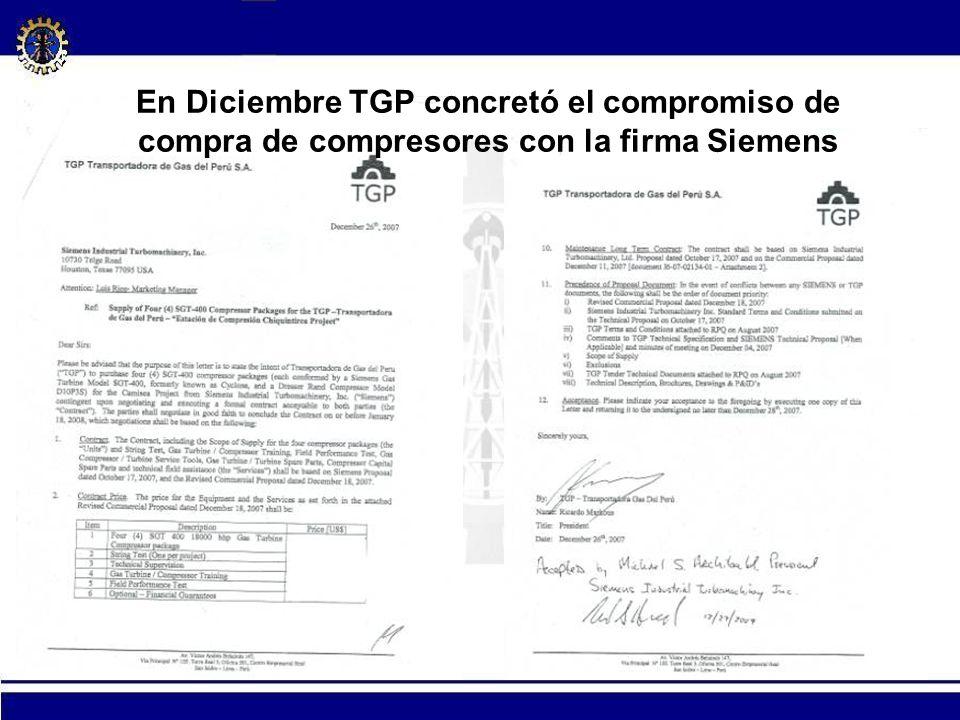 30 En Diciembre TGP concretó el compromiso de compra de compresores con la firma Siemens