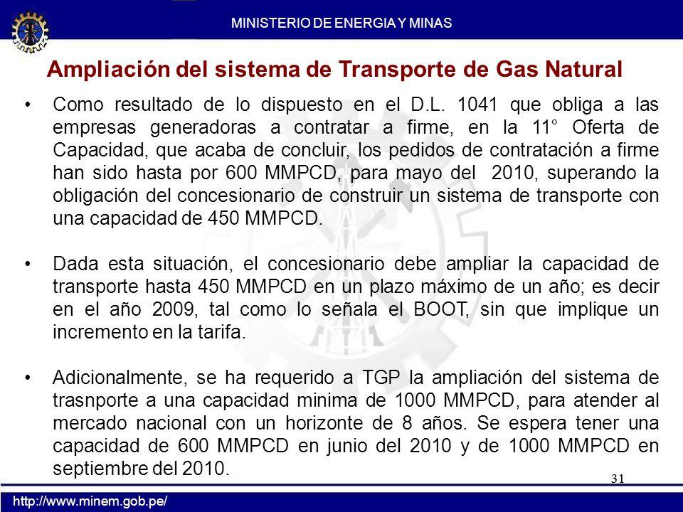 31 Como resultado de lo dispuesto en el D.L. 1041 que obliga a las empresas generadoras a contratar a firme, en la 11° Oferta de Capacidad, que acaba