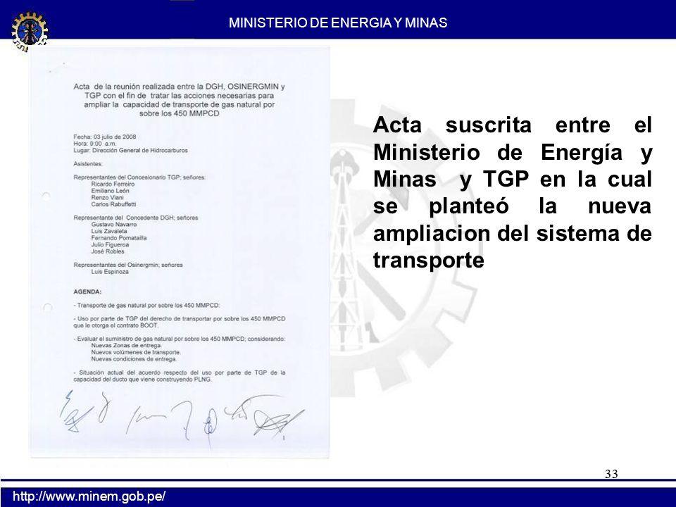 33 Acta suscrita entre el Ministerio de Energía y Minas y TGP en la cual se planteó la nueva ampliacion del sistema de transporte MINISTERIO DE ENERGI