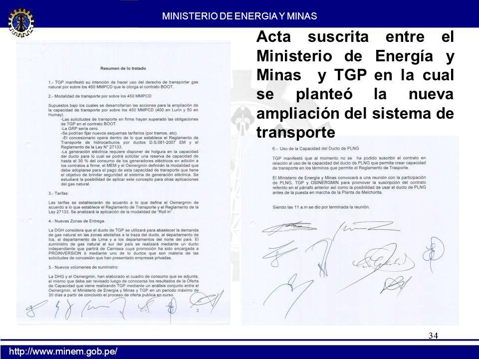 34 MINISTERIO DE ENERGIA Y MINAS http://www.minem.gob.pe/ Acta suscrita entre el Ministerio de Energía y Minas y TGP en la cual se planteó la nueva am