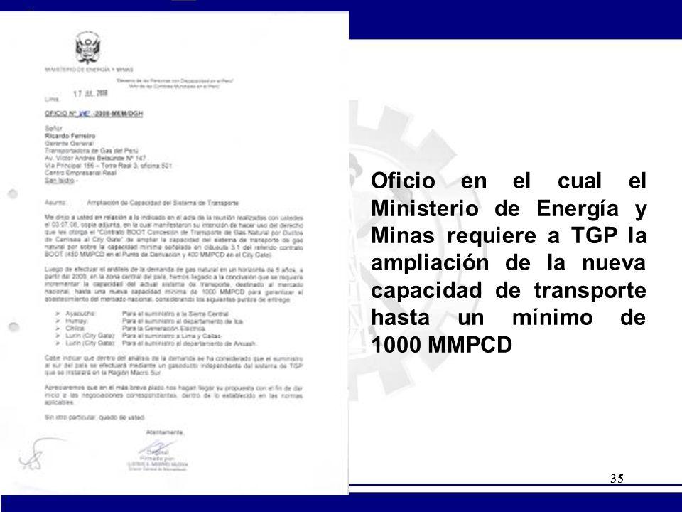 35 Oficio en el cual el Ministerio de Energía y Minas requiere a TGP la ampliación de la nueva capacidad de transporte hasta un mínimo de 1000 MMPCD