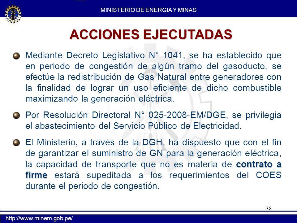38 Mediante Decreto Legislativo N° 1041, se ha establecido que en periodo de congestión de algún tramo del gasoducto, se efectúe la redistribución de
