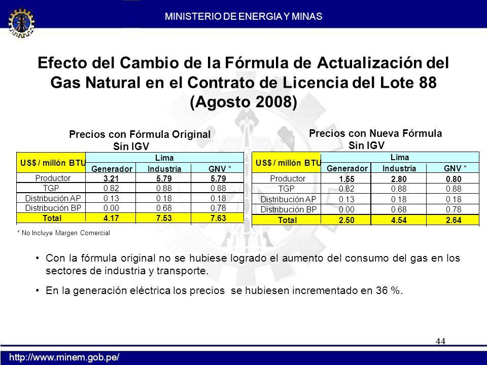 44 Con la fórmula original no se hubiese logrado el aumento del consumo del gas en los sectores de industria y transporte. En la generación eléctrica